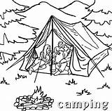 Camping Coloring Tent Printable Sheet Campfire Sheets Tourist Template sketch template