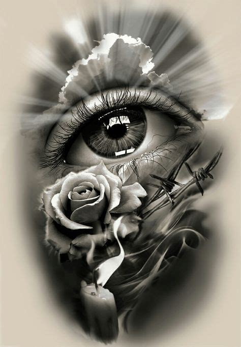 tattoo design realistic eye  rose  candle