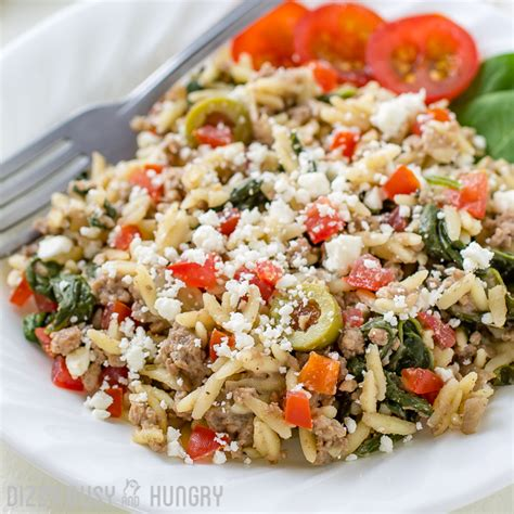ground beef lunch recipes beef and orzo skillet meal dizzy busy and hungry