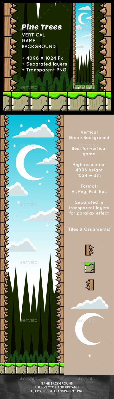 Pine Trees Vertical Game Background Graphicriver