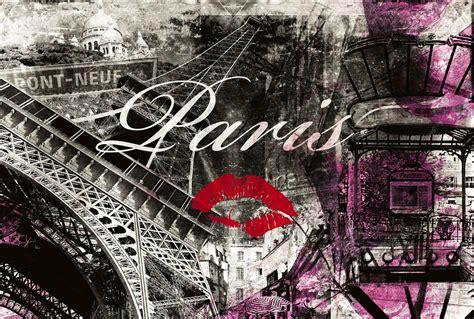 stickers deco chambre fille poster mural urbain et parisien en mode patchwork