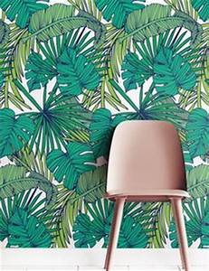 papier peint feuille tropique murale jungle decor de With markise balkon mit tapete palm jungle