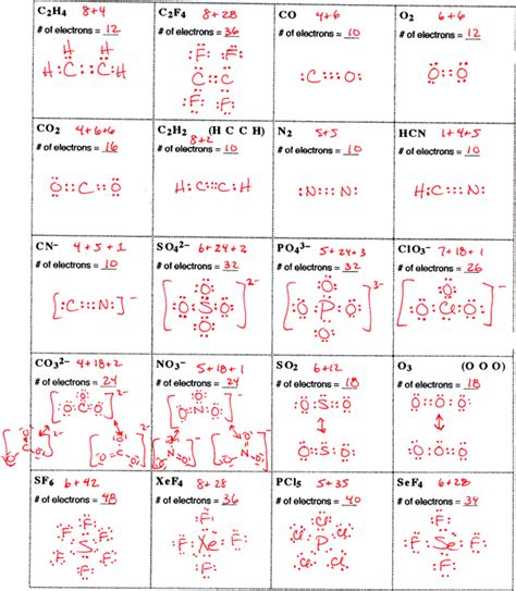 lewis structure practice worksheet with answers ap chemistry page