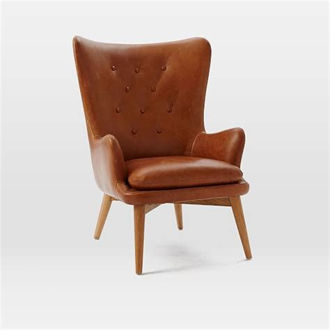 niels leather wing chair west elm