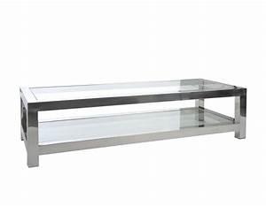 Verre Pour Table : table basse verre et acier chrom moderne chic ~ Teatrodelosmanantiales.com Idées de Décoration