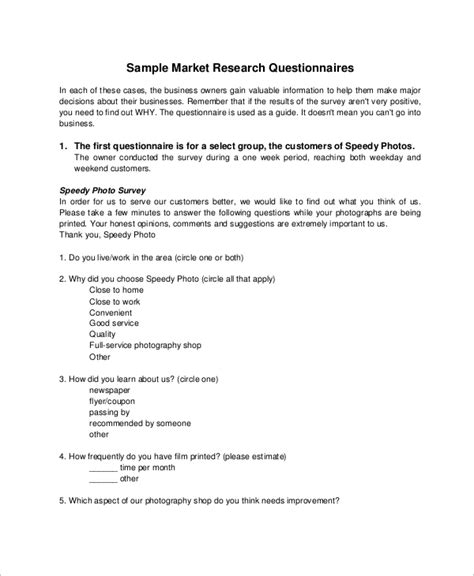 questionnaire samples   ms word pages