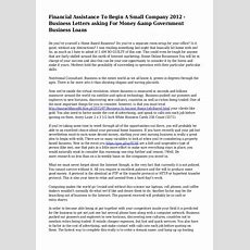 Financial Assistance To Begin A Small Company 2012  Business Letters…