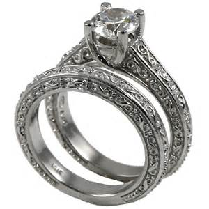 sterling silver wedding ring sets sterling silver antique style wedding set moissanite ring moissanite jewelry rings in 14k gold
