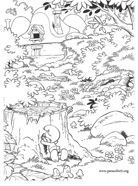 smurfs brainy smurf playing hide  seek coloring page