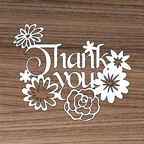 thank you card template maker thank you papercut template cutting file thank you