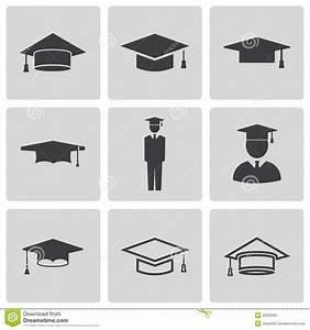 Vector Black Academic Cap Icons Set Royalty Free Stock ...