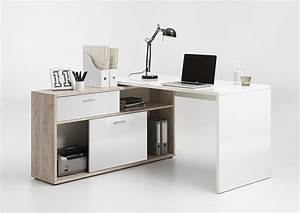 Bureau D Angle But : bureau d 39 angle diego up chene blanc brillant ~ Teatrodelosmanantiales.com Idées de Décoration