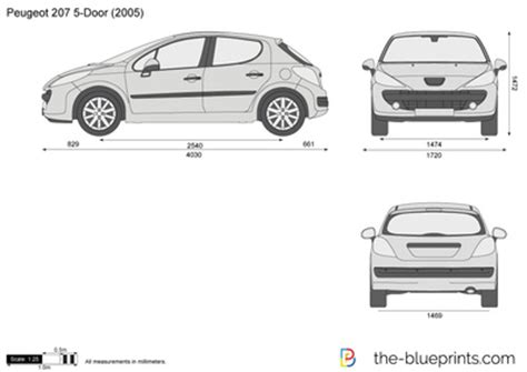 dimensions peugeot 207 the blueprints vector drawing peugeot 207 5 door