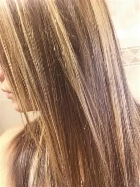 dark brown hair  blonde highlights  top