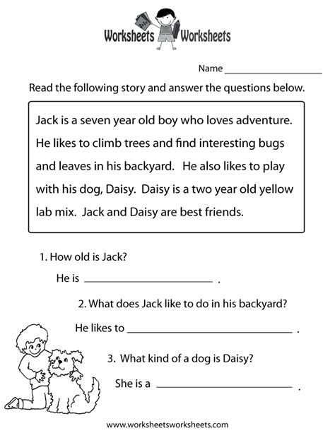 free printable reading comprehension worksheets for