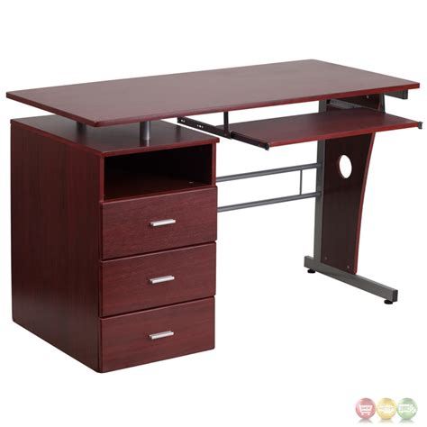 desk with keyboard drawer mahogany desk with three drawer pedestal and pull out