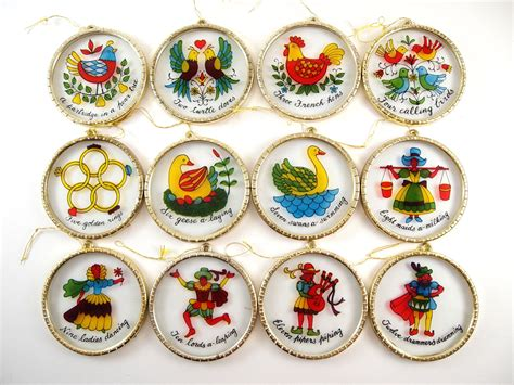 12 days of christmas ornament set vintage christmas