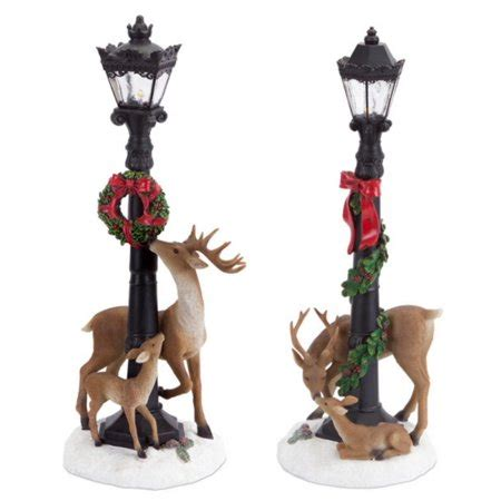 set   led lighted christmas lamp post decorations