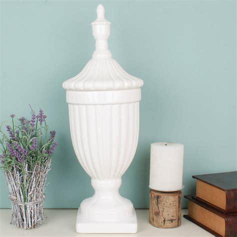 white ceramic scandi decorative urn by dibor