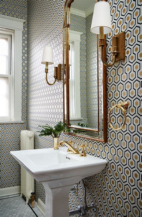 Small Wall Sconces For Bathroom by Small Bathroom With A Lot Of Pattern On Wall Wallpaper