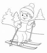 Coloring Skiing Boy Woods Pages Winter sketch template