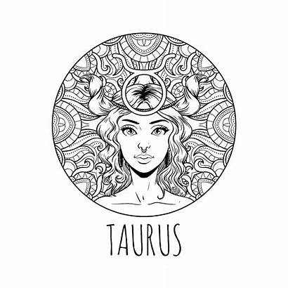 Zodiac Coloring Taurus Sign Adult Pages Horoscope
