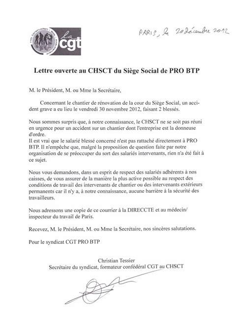 pro btp siege social lettre ouverte au chsct du siège social de pro btp le