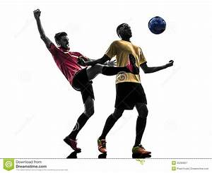 Two Men Soccer Player Standing Silhouette Royalty Free ...