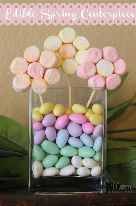 edible craft marshmallow flowers spring centerpiece