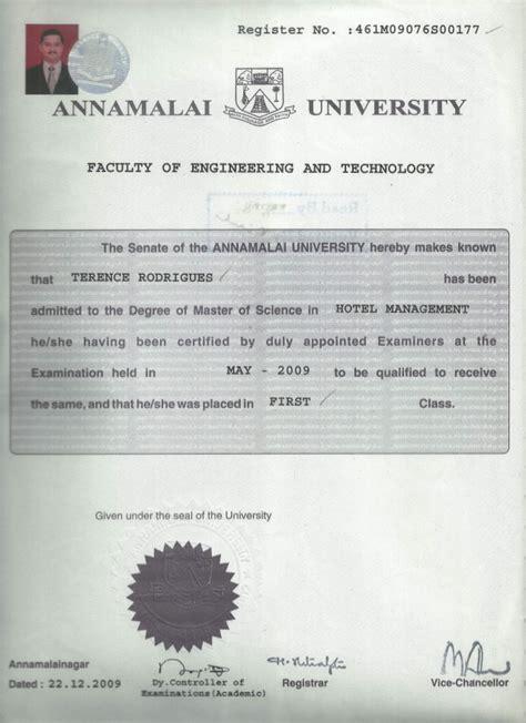 m sc hotel management convocation certificate0001