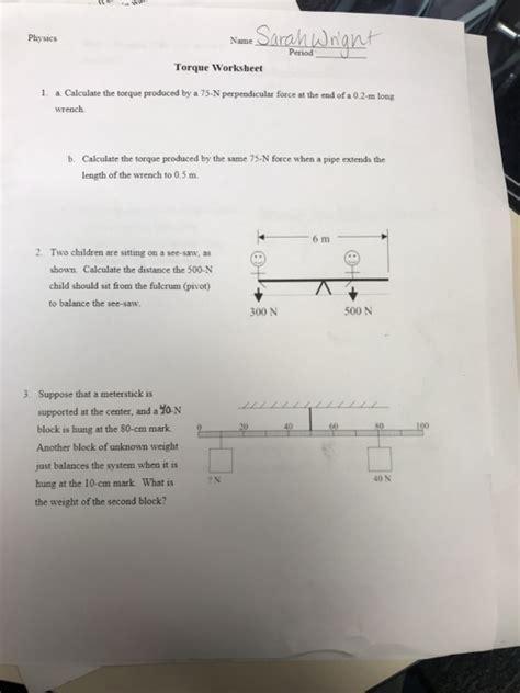 torque worksheet answer key