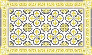 tapis vinyle carreaux de ciment garance jaune moutarde With carreaux de ciment jaune