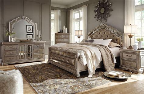 birlanny silver upholstered panel bedroom set  ashley