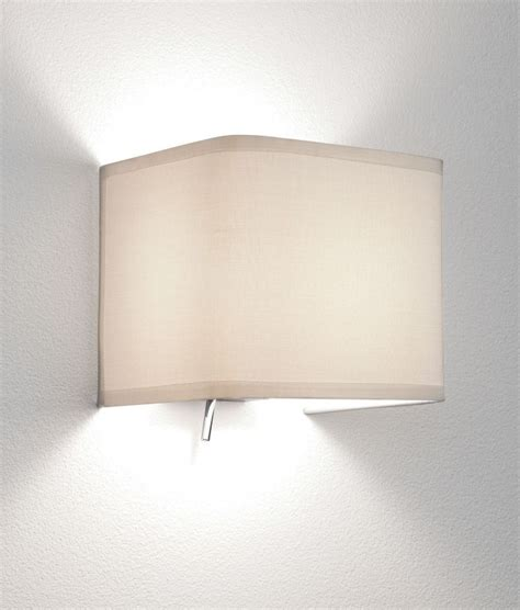 simple white fabric wall light in two designs low glare