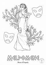 Greek Coloring Muses Mythology Nine Goddesses Muse sketch template