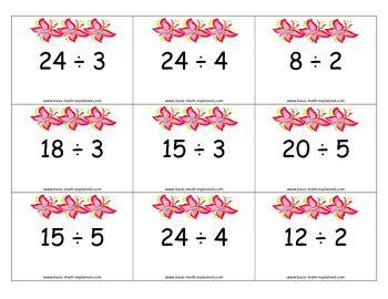 simple division task cards  flashcardgames teachers