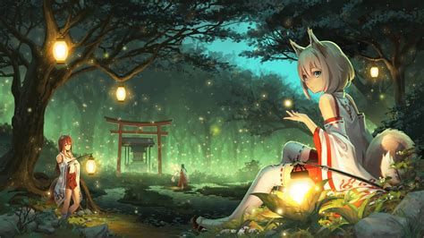 miko fox hd anime  wallpaper  windows desktophut