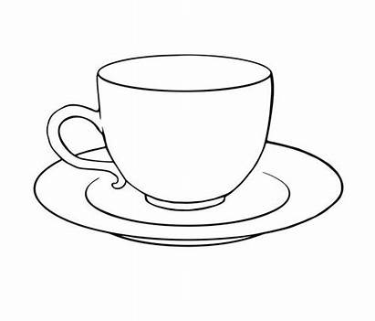 Cup Tea Drawing Teacup Outline Coloring Pages