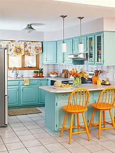 update your kitchen on a budget turquoise kitchens and With kitchen cabinets lowes with orange and turquoise wall art