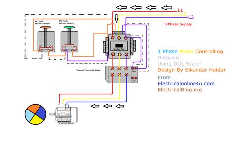 3 Phase Motor Wiring Drawing by Direct Starter Animation Diagrams Electrical
