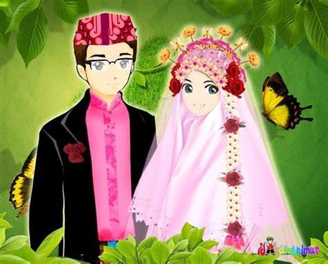 gambar kartun islami muslim  muslimah romantis katakanid