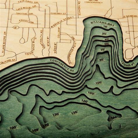 lake geneva wood map  nautical topographic chart
