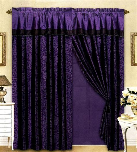 black purple flocking leopard satin window curtain drape
