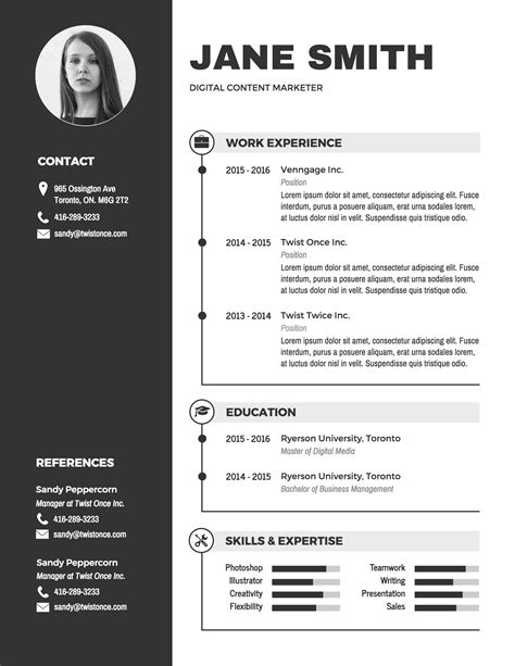 Free Word Resume Template by Infographic Resume Template Venngage