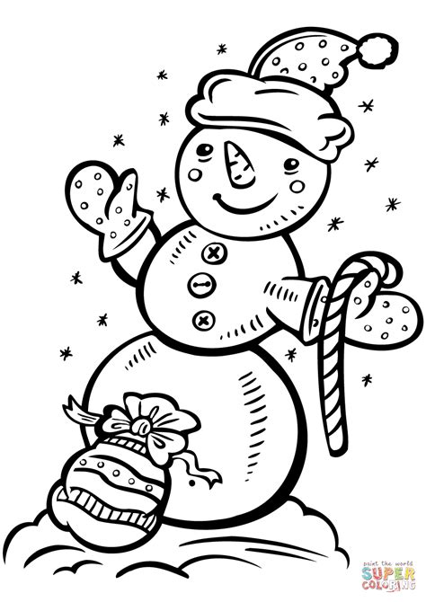 snowman with candy cane and gift bag coloring page free