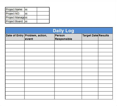 excel work log template sample daily log template 15 free documents in pdf word