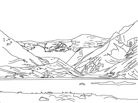 mountain picture black  white coloring page coloring home