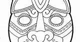 Mayan Mask Template Masks Pages Jaguar Colouring Ruins Temple Guatemala sketch template