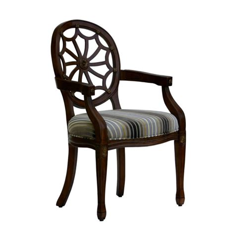 furniture spider back accent chair with arms and striped