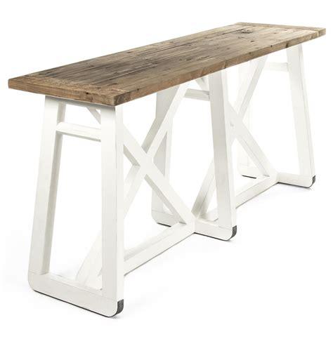 white wood console table mirabel coastal beach rustic white reclaimed wood x base